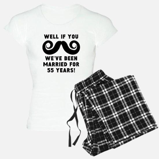 55th Wedding Anniversary Mustache Pajamas