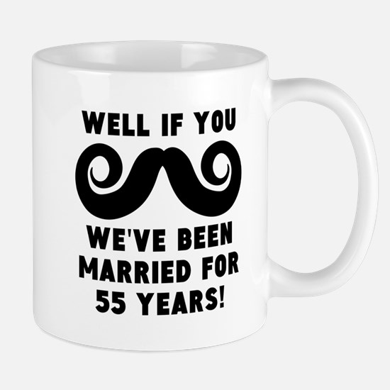 55th Wedding Anniversary Mustache Mugs
