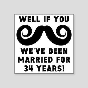 34th Wedding Anniversary Mustache Sticker