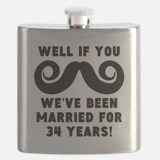 34th Wedding Anniversary Mustache Flask