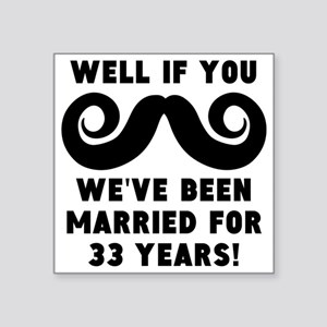 33rd Wedding Anniversary Mustache Sticker