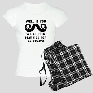 24th Wedding Anniversary Mustache Pajamas