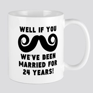 24th Wedding Anniversary Mustache Mugs