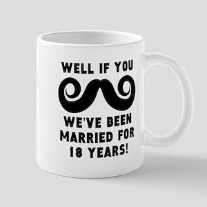 18th Wedding Anniversary Mustache Mugs