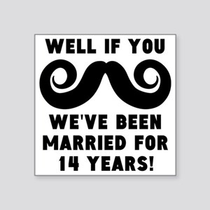 14th Wedding Anniversary Mustache Sticker