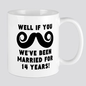 14th Wedding Anniversary Mustache Mugs