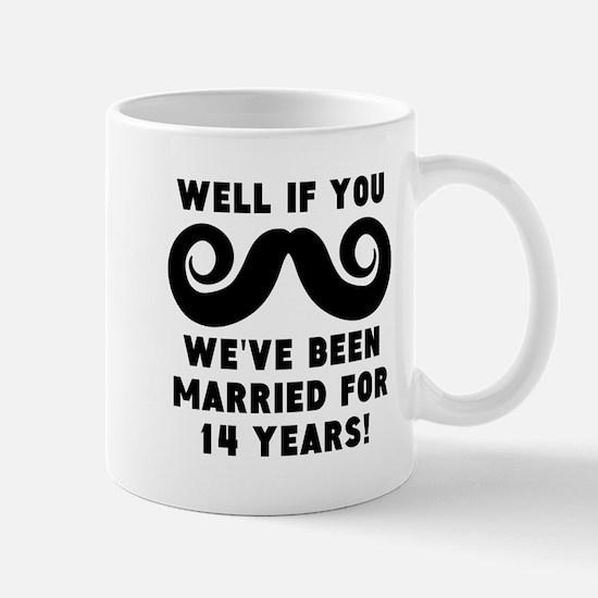 14th Wedding Anniversary Mustache Mugs