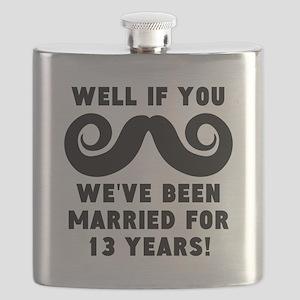 13th Wedding Anniversary Mustache Flask