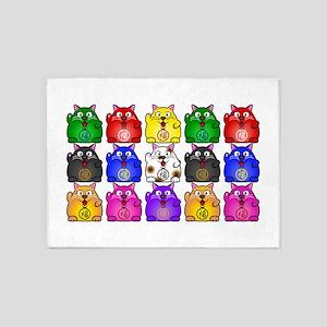Many Rucky Cats 5'x7'Area Rug