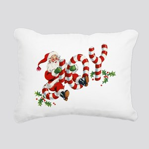 Vintage Joy and Santa Rectangular Canvas Pillow