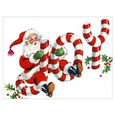 Vintage Joy and Santa Poster