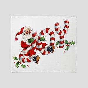 Vintage Joy and Santa Throw Blanket