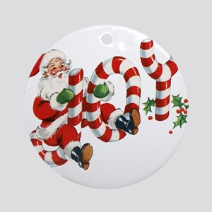 Vintage Joy and Santa Round Ornament