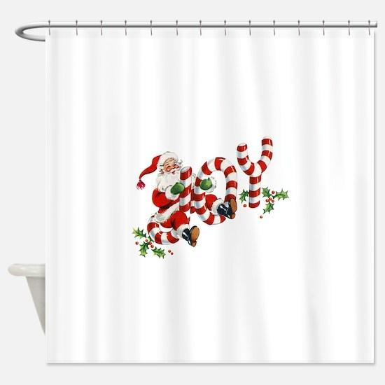 Vintage Joy and Santa Shower Curtain