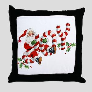 Vintage Joy and Santa Throw Pillow