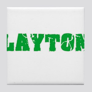 Layton Name Weathered Green Design Tile Coaster