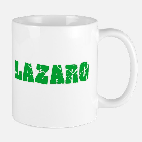 Lazaro Name Weathered Green Design Mugs