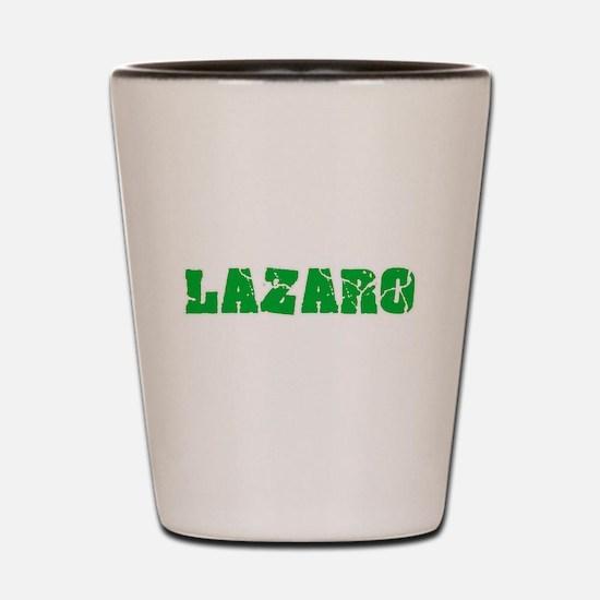 Lazaro Name Weathered Green Design Shot Glass