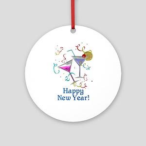 Happy New Year Round Ornament