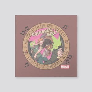 "Squirrel Girl Action Square Sticker 3"" x 3"""