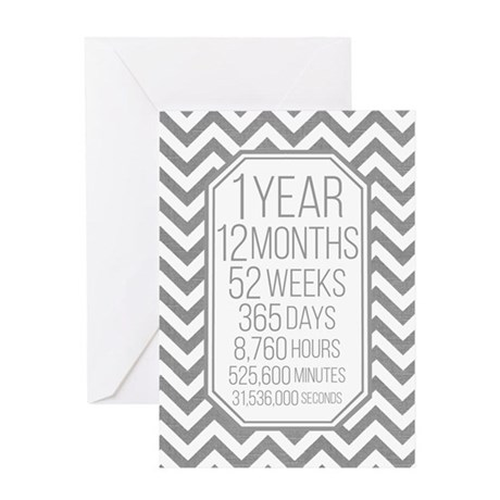 1 Year (gray Chevron) Card Greeting Cards