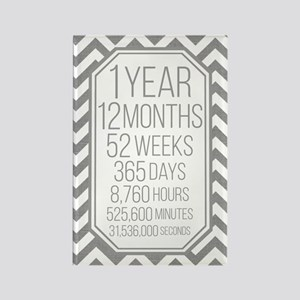 1 Year (gray Chevron) Rectangle Magnet Magnets