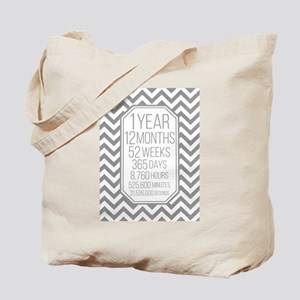 1 Year (Gray Chevron) Tote Bag