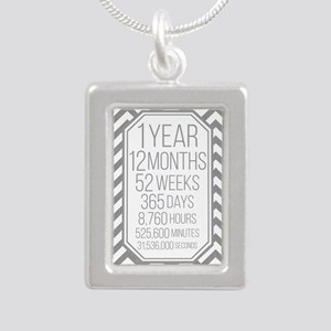 1 Year (Gray Chevron) Silver Portrait Necklace