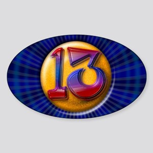 Lucky Number 13 Sticker (Oval)