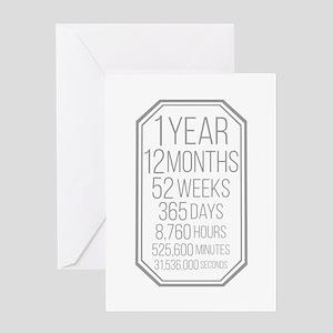 1 Year (Gray Chevron) Greeting Card