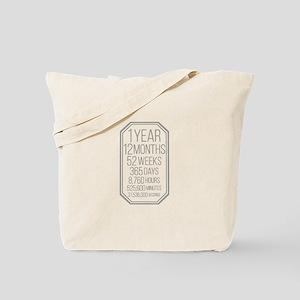 1 Year (Gray Chevron) Tote Bag