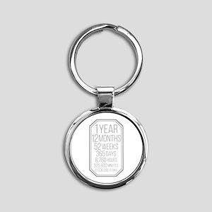 1 Year (Gray Chevron) Round Keychain