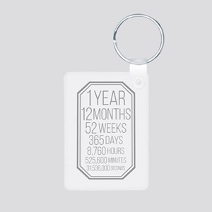 1 Year (Gray Chevron) Aluminum Photo Keychain