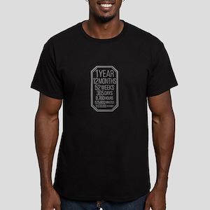 1 Year (Gray Chevron) Men's Fitted T-Shirt (dark)