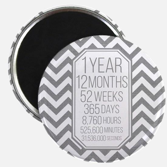 1 Year (Gray Chevron) Magnet