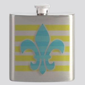 Blue Yellow White Stripe Fleur De Lis Flask