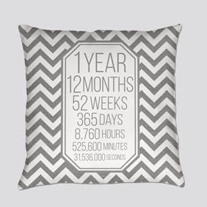 1 Year (Gray Chevron) Everyday Pillow