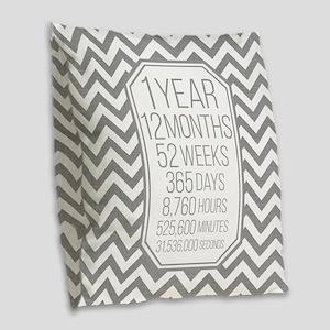 1 Year (Gray Chevron) Burlap Throw Pillow