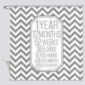 1 Year (Gray Chevron) Shower Curtain