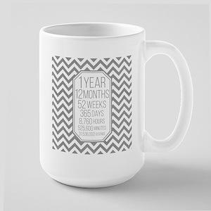 1 Year (Gray Chevron) Large Mug