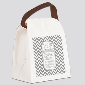1 Year (Gray Chevron) Canvas Lunch Bag