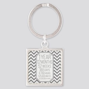 1 Year (Gray Chevron) Square Keychain