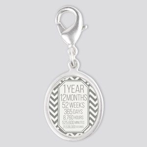 1 Year (Gray Chevron) Silver Oval Charm
