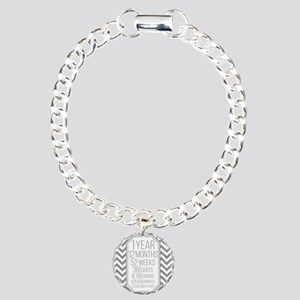 1 Year (Gray Chevron) Charm Bracelet, One Charm