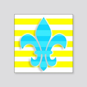 Blue Yellow White Stripe Fleur De Lis Sticker