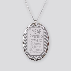 1 Year (Gray Chevron) Necklace Oval Charm