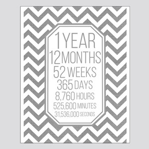 1 Year (Gray Chevron) Small Poster