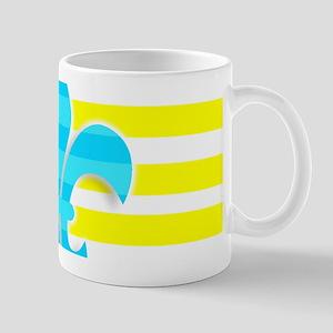 Blue Yellow White Stripe Fleur De Lis Mugs