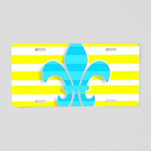 Blue Yellow White Stripe Fl Aluminum License Plate
