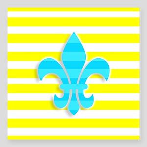 "Blue Yellow White Stripe Square Car Magnet 3"" x 3"""